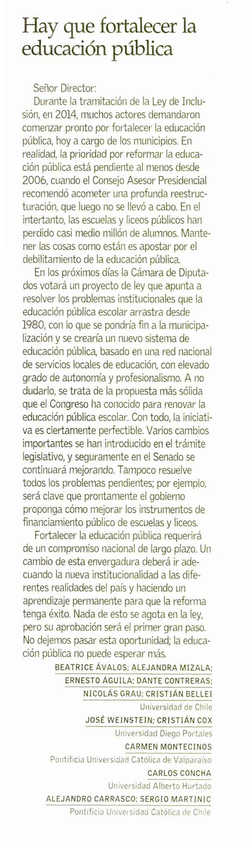 Carta el Mercurio
