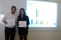 Samuel Olivares y Natalia Campos durante su presentación.