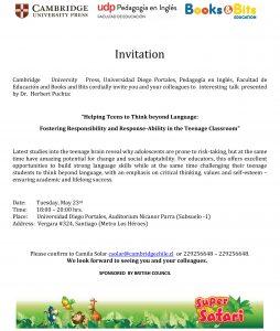 Invitation UDP charla inglés
